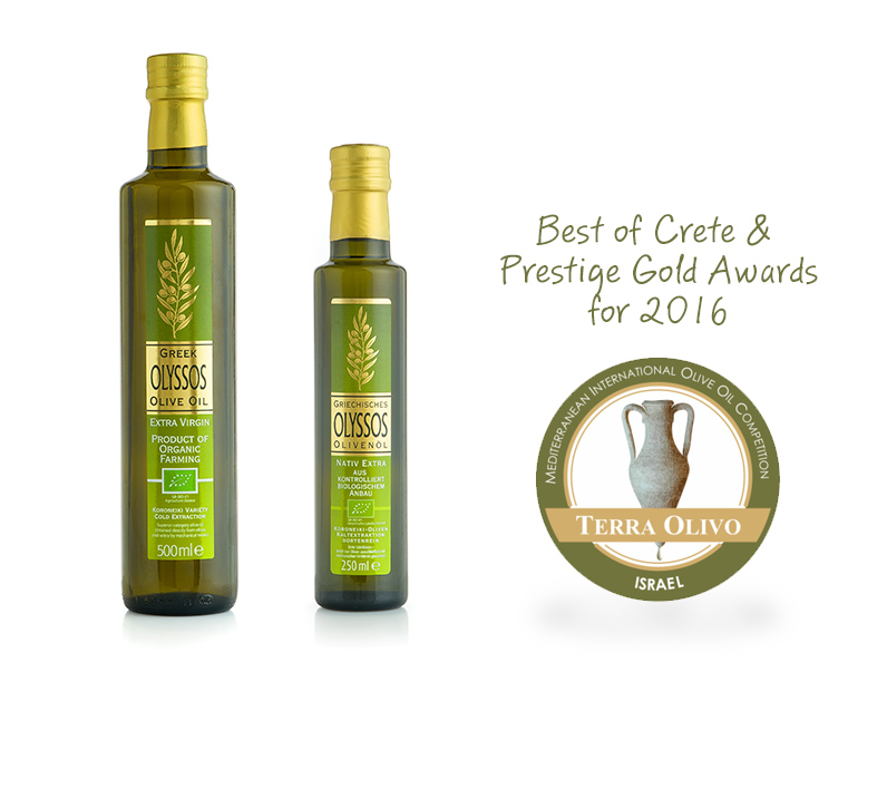 "Prestige Gold and Best Of Crete award for our Organic Extra Virgin Olive Oil ""OLYSSOS"