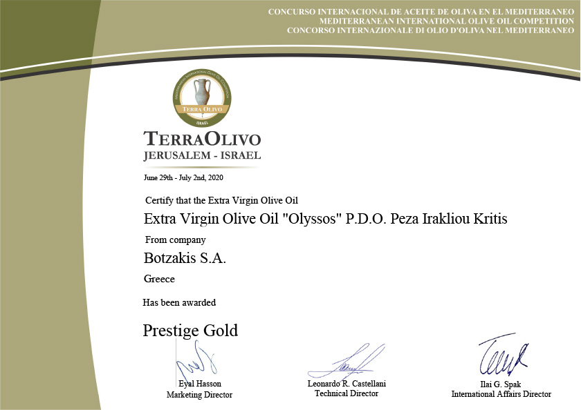 Prestige Gold at Terra Olivo Competition in Israel for Extra Virgin Oil Olyssos P.D.O Peza Irakliou Kritis