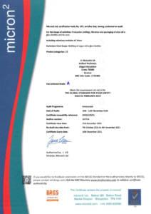 BRCGS Certificate for BOTZAKIS - CRETA OIL