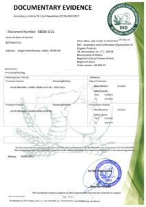 DIO - Organic Production Certificate for Botzakis - CRETA OIL