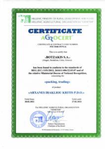 Certificate BOTZAKIS - CRETA OIL - ARXANES IRAKLIOU KRITIS PDO