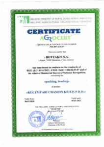 Certificate BOTZAKIS - CRETA OIL - KOLYMVARI CHANION KRITIS PDO