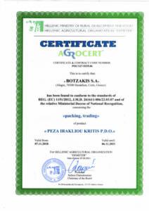 Certificate BOTZAKIS - CRETA OIL - PEZA IRAKLIOU KRITIS PDO